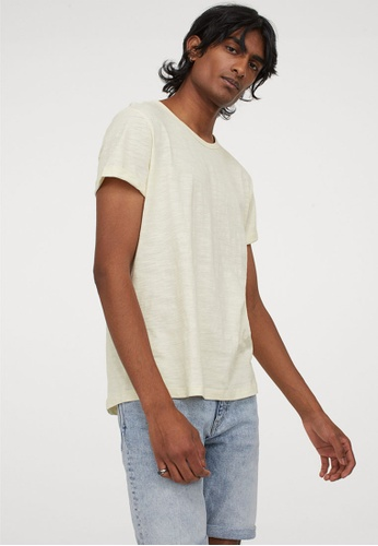 H&M white Knitted T-Shirt AEDB1AA8931846GS_1