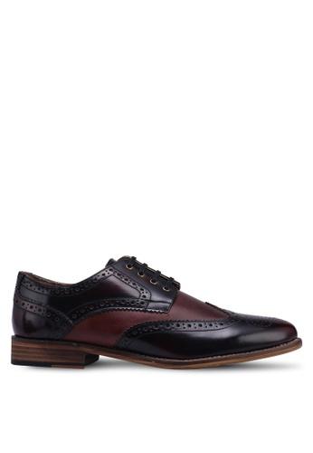 Topman red Burgundy Leather Hale Brogue Shoes F8D5FSH174C609GS_1