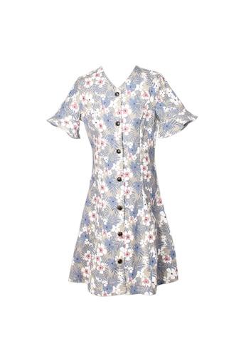 Mini Moley grey Floral Print Girl's Button Down Dress C2BE3KA89571B9GS_1
