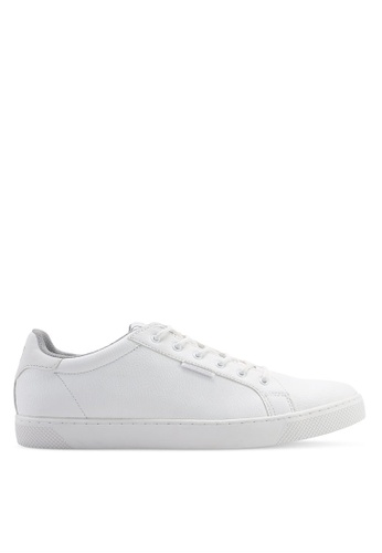Jack & Jones white Trent PU Leather Trainers 6F8D0SH6365802GS_1
