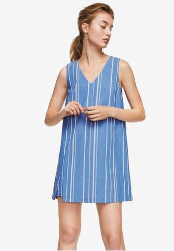 Mango blue Stripe Textured Dress B9E1DAAF627E8CGS_1