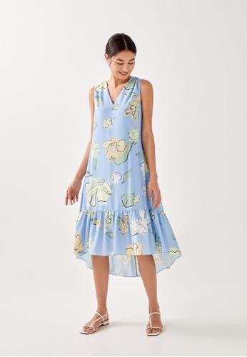Love, Bonito 藍色 Rey High Low Hem Midi Dress in Unfolding Blooms 3845BAAF493185GS_1