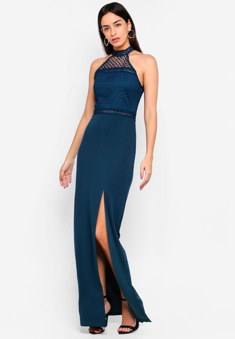 Paris High AX Top Maxi Teal Dress Neck Crochet O75YwnqXw