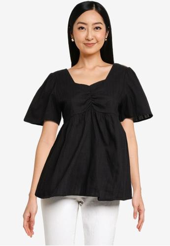 Heather black Lace Up Top 3B75FAA26C2E88GS_1