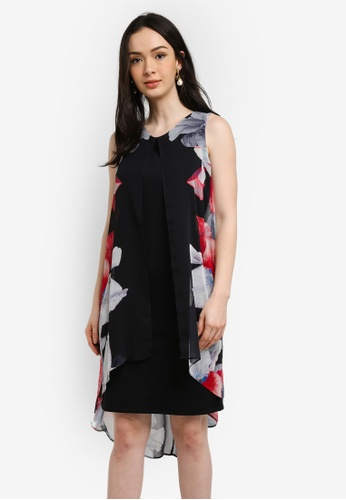 Wallis black Black Rouge Orchid Split Front Overlay Dress 69148AA03B9052GS_1