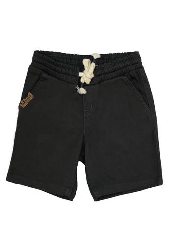 Grizzly grey Boys Infant Garterized Twill Short with Patch Pocket E1653KA9A72205GS_1