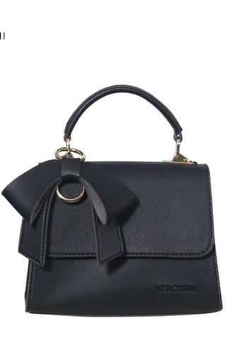 Verchini black Verchini Front Flap Top Handle Bag 08772ACB3FAB60GS_1