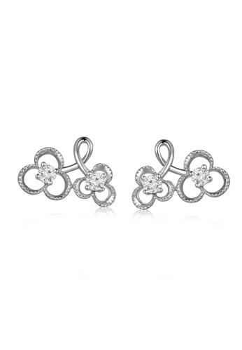 MaBelle silver 18K/750 White Color Gold Diamond Flower Earrings 711E6AC66801DFGS_1