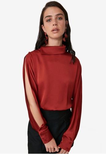 Trendyol orange Collar Detail Blouse with Slit Sleeves 3904EAA66EDF15GS_1