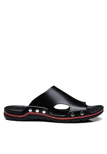 Twenty Eight Shoes 黑色 簡約牛皮拖鞋 VMS8286 D715ASHF231D83GS_1