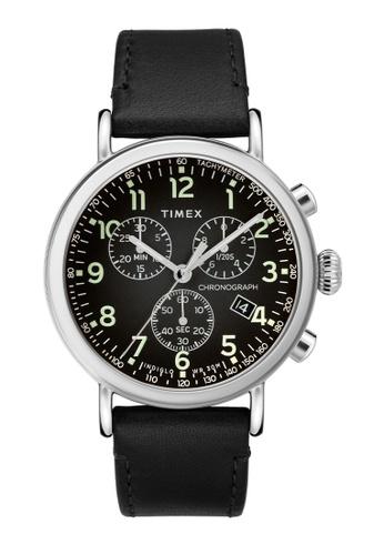 Timex black and silver Timex Standard Chrono 41mm - Silver-Tone Case, Black Strap (TW2T21100) 6DD49ACE83FCC4GS_1