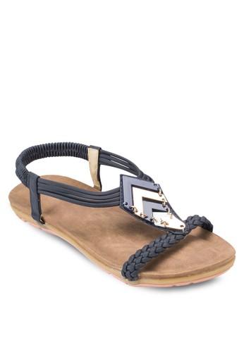 編織帶閃飾繞踝涼鞋, 女esprit holdings鞋, 鞋