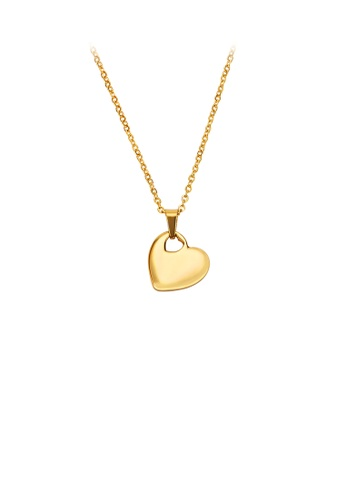 Glamorousky silver Simple and Fashion Plated Gold Heart-shaped 316L Stainless Steel Pendant with Necklace 07901AC9702B7BGS_1