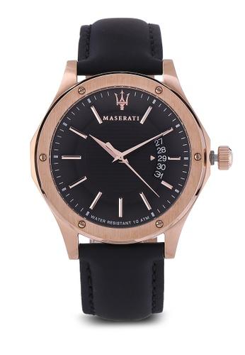 Maserati black Circuito 42mm Leather Strap Watch MA410AC92HGXMY_1