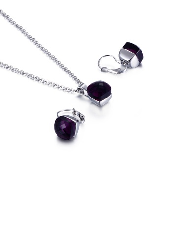 Glamorousky purple Fashion Simple Geometric Square 316L Stainless Steel Necklace and Earring Set with Deep Purple Cubic Zirconia 96CE3AC38A46B2GS_1