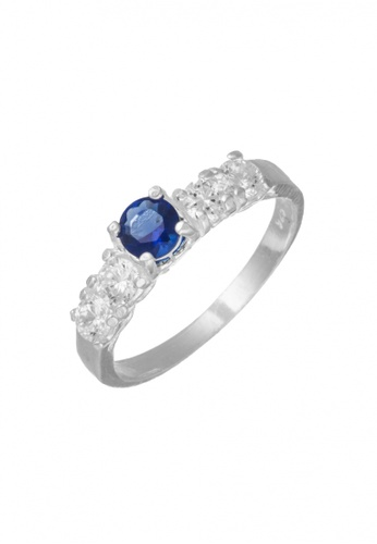 Elfi blue and silver Elfi 925 Genuine Silver Engagement Ring M28 - The Blue Solitaire EL186AC55FEQMY_1
