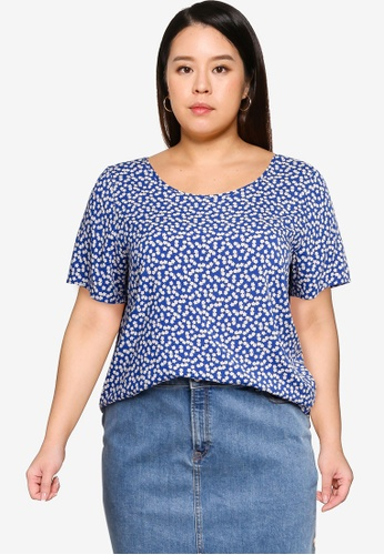Only CARMAKOMA blue Plus Size Carfirstly Life Short Sleeve Top 90106AA2866114GS_1