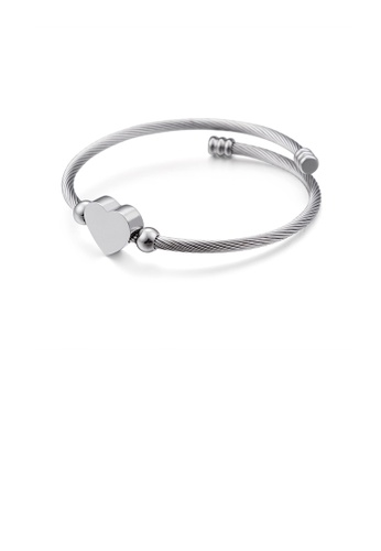 Glamorousky silver Fashion Simple Heart Shaped 316L Stainless Steel Bangle C0F7DAC9BEF5E2GS_1