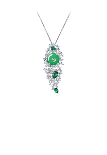 Glamorousky white Elegant Temperament Geometric Green Cubic Zirconia Pendant with Necklace DDB41AC9A52DD7GS_1
