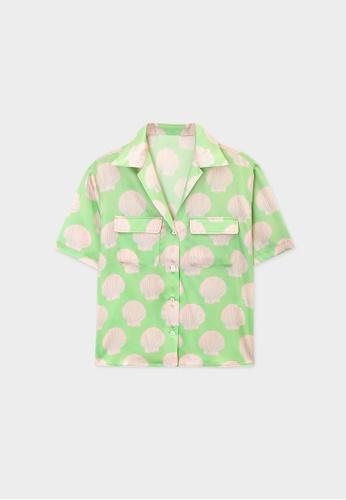 Pomelo green Shell Graphic Print Shirt - Green B80EDAA249E09DGS_1