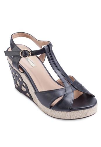 貼花露趾楔型涼鞋, 女zalora 男鞋 評價鞋, 鞋