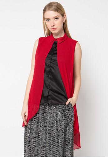 Le'Rosetz black and red Overlap Sleveless Top LE828AA52ORRID_1