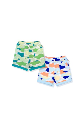OETEO green and blue and multi Camo Flash Toddler Casual Shorts 2-Piece Bundle (Blue/Green) 3A9A3KA332B25BGS_1