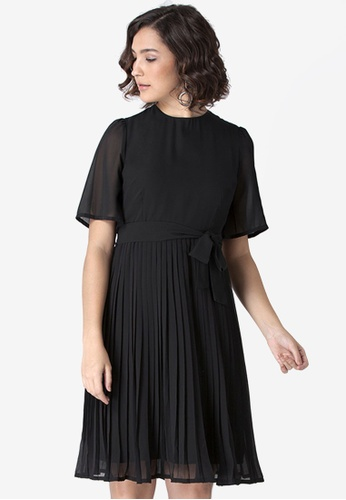 FabAlley black Pleated Belted Dress 88013AA8FA0E8BGS_1