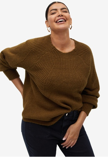 Violeta by MANGO brown Plus Size Contrasting Knit Sweater A8E52AA025A866GS_1