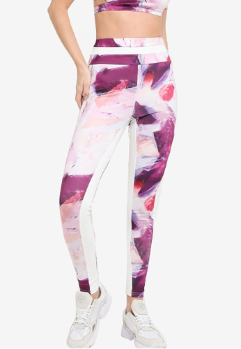 ZALORA ACTIVE white and pink Colorblock Sport Tights 8FAC8AA2A75ED4GS_1