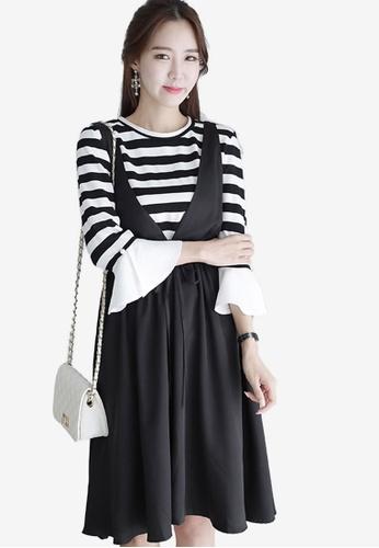 Eyescream black Pinafore Flare Dress EY853AA0S1KAMY_1