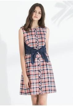 OUWEY歐薇 夏日格紋剪接牛仔純棉洋裝