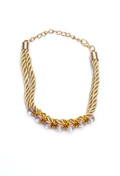 Rhinestone Silk Rope Bracelet
