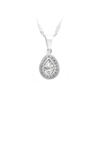 Glamorousky silver 925 Sterling Silver Water-drop-shape Pendant with White Cubic Zircon and Necklace 2907BACB5872A4GS_1