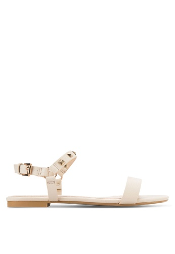 ZALORA beige Flat Sandals with Stud Details ADLMUSH0000003GS_1