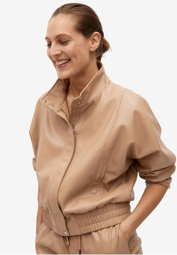 Mango beige Faux Leather Jacket AFCFAAAC08F0D2GS_1