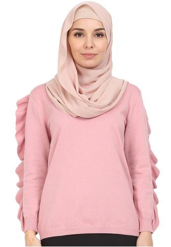 POPLOOK pink Susie Ruffle Sleeve Blouse 21FDAAAA6217B1GS_1