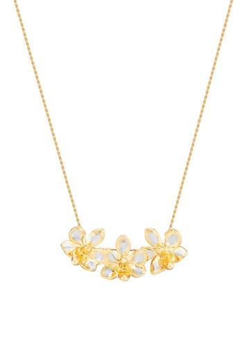 RISIS multi RISIS 24K Gold and Rhodium Natural Tri-Ascocenda Orchid Necklace E16FDAC11E237EGS_1