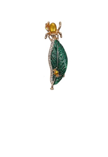 Glamorousky white Fashion and Elegant Plated Gold Green Leaf Brooch with Cubic Zirconia E68F3AC8C61BF4GS_1