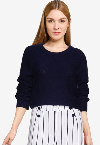GAP navy Textured Brooklyn Crew Sweater B3723AAB6AF5CAGS_1
