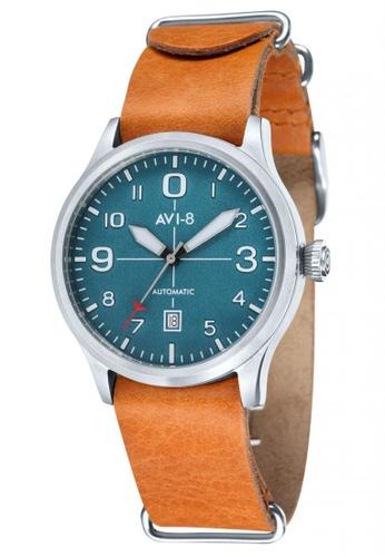 AVI-8 orange Flyboy Men's Leather Nato Strap Watch AV642AC48JSPPH_1
