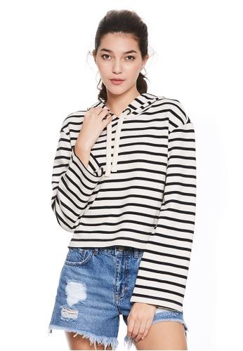 Sisley black Cropped Striped Sweatshirt F52FBAA824504FGS_1