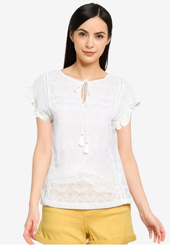 Springfield white Two-Material Swiss Embroidery Blouse B9FFDAAB0FF4CFGS_1