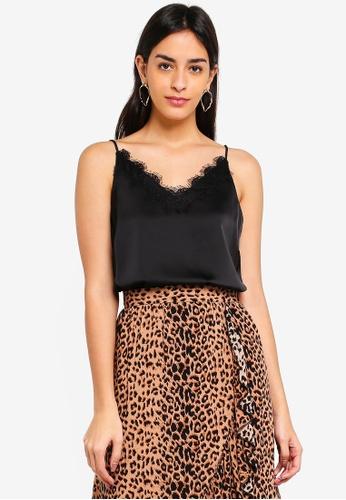 Vero Moda black Fanni Lace Singlet Top 7918CAAA90BB56GS_1