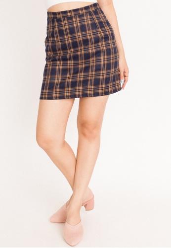 Hook Clothing multi and navy Dark Tartan Mini Skirt 10DDCAAC6499C6GS_1