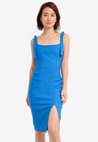 Vesper blue Vesper Gisela Tie Detail Midi Dress FB9D6AA074FBF6GS_1