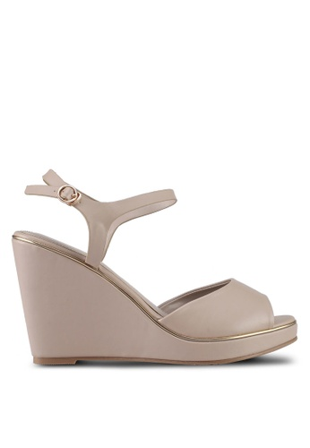 VINCCI grey and brown Strappy Wedges 9D071SH8E55B71GS_1