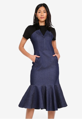 MDSCollections blue Lapel Flap-Over Dress In Denim 142FBAAC047CF5GS_1