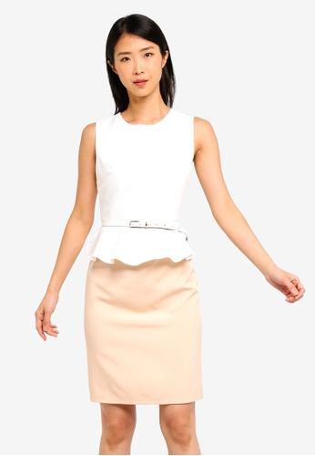 ZALORA BASICS white and multi Basic Peplum Fitted Dress With Belt E8189AAEDAD13AGS_1