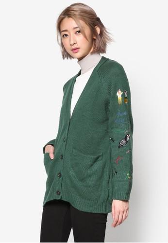 PLAYesprit官網 刺繡圖案針織外套, 服飾, 外套
